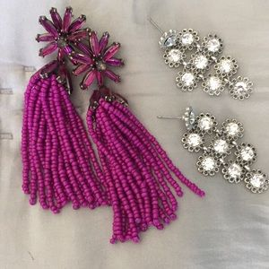 Baublebar beaded sparkly earring lot - 2 pairs